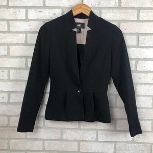 H&M Black Blazer Single Button Collarless Size 2